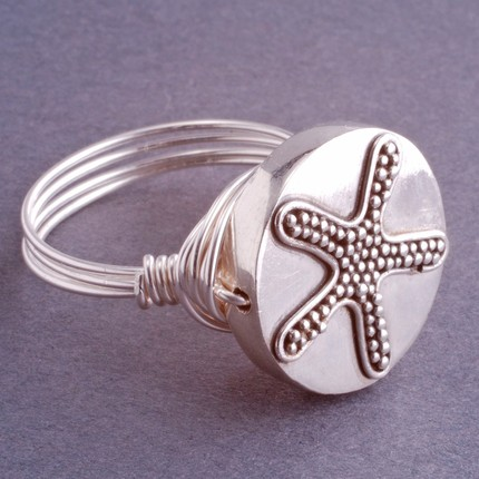 Sterling Silver Starfish Wire Wrapped Ring by Etsy seller Georgie-Designs