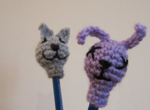 Bunny and Cat crochet pencil toppers