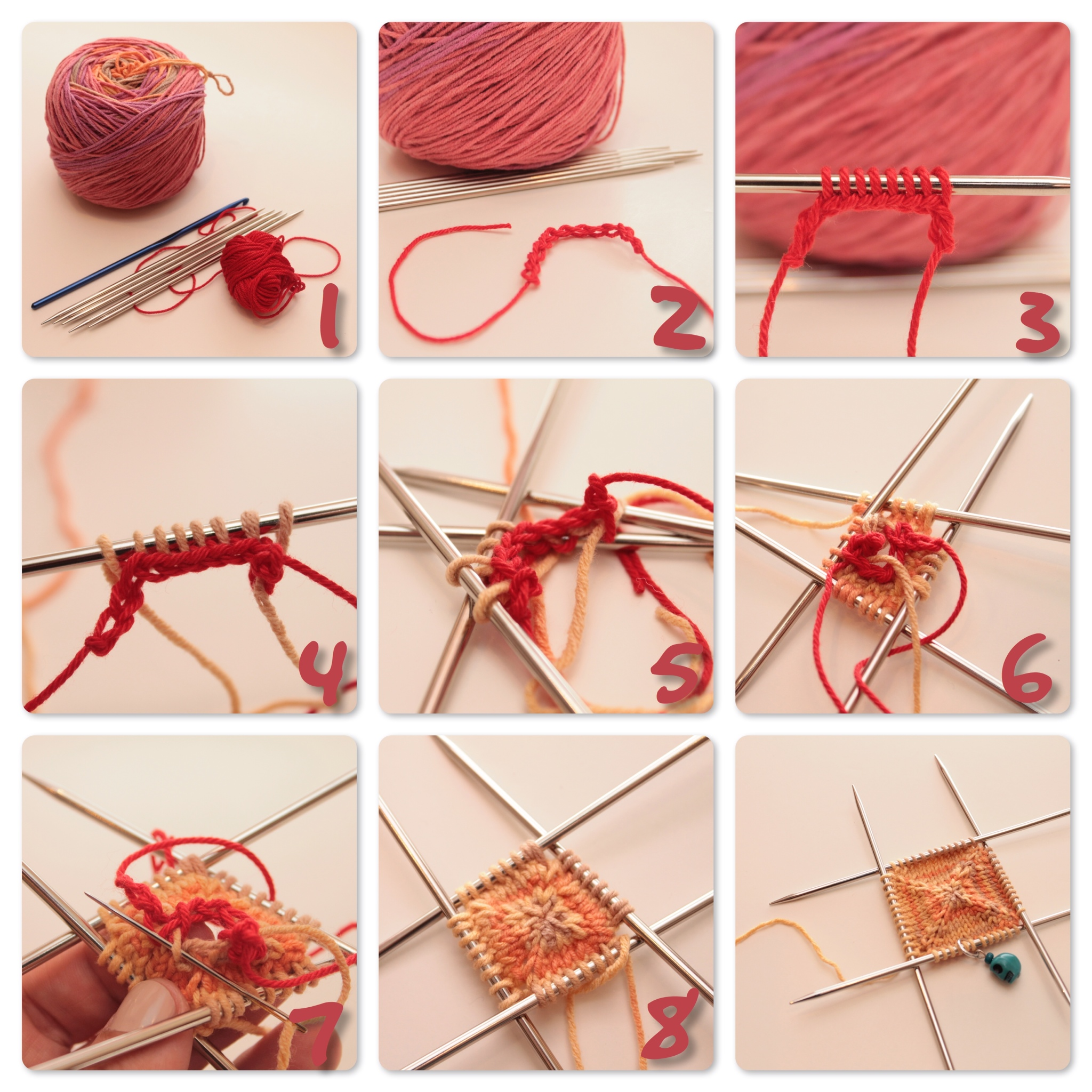 How To Cast On Stitches For Knitting With A Crochet Hook : Knitting from the center out.   The C Side